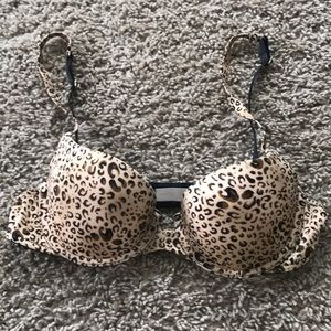 Leopard print push up bra